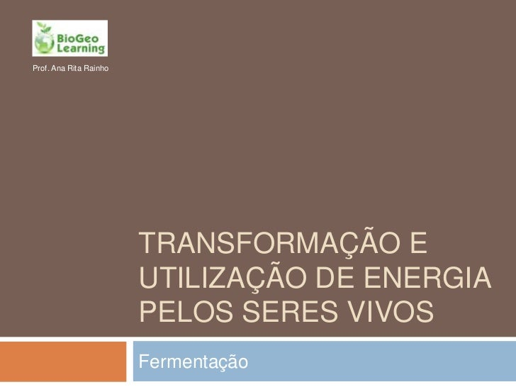 Prof. Ana Rita Rainho                        TRANSFORMAÇÃO E                        UTILIZAÇÃO DE ENERGIA                 ...