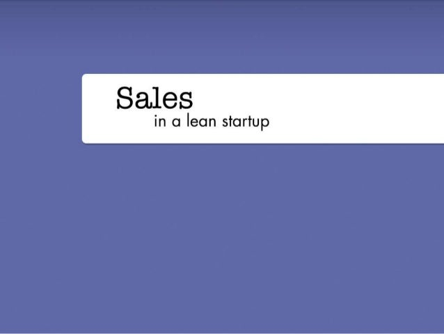 Running a Lean Startup Sales Process