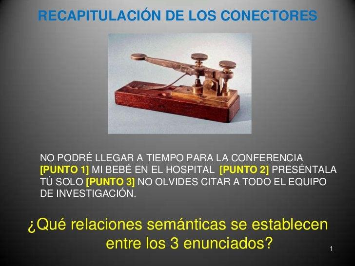 RECAPITULACIÓN DE LOS CONECTORES<br />NO PODRÉ LLEGAR A TIEMPO PARA LA CONFERENCIA [PUNTO 1] MI BEBÉ EN EL HOSPITAL [PUNT...