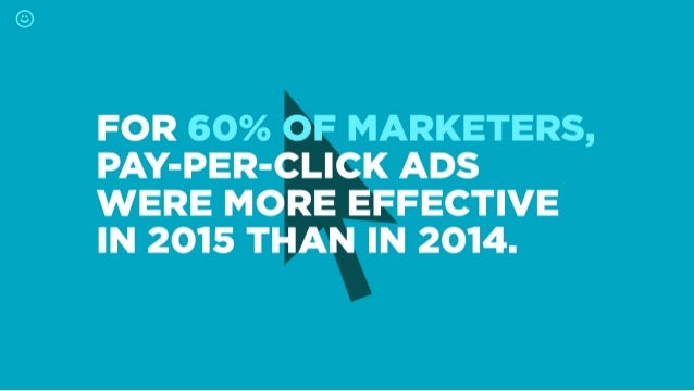 FOR 60% OF MARKETERS,  PAY-PER-CLICK ADS WERE MORE EFFECTIVE IN 2015 THAN IN 2014.