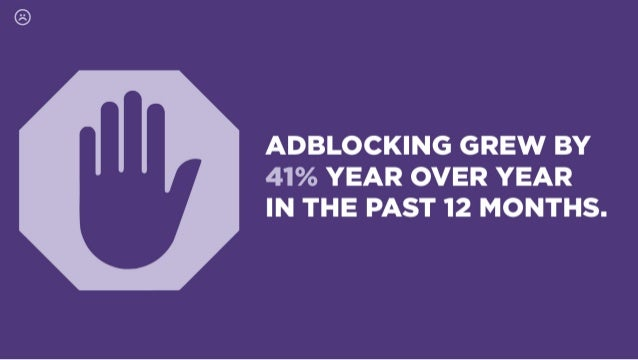 ADBLOCKING GREW BY 41% YEAR OVER YEAR IN THE PAST 12 MONTHS.