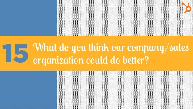 15What do you think our company/sales organization could do better?