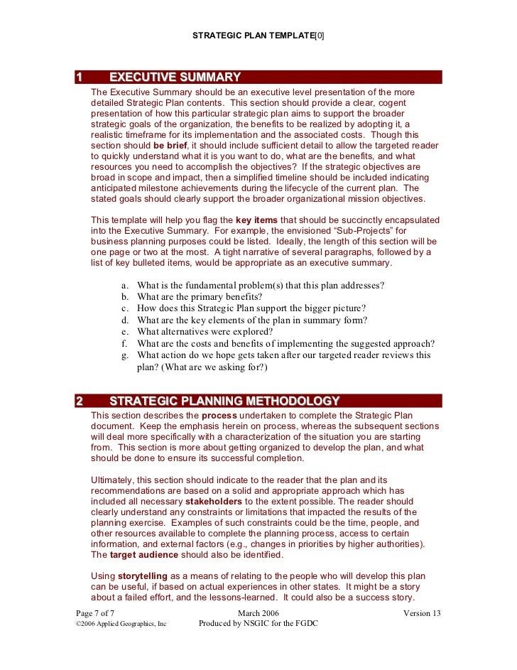 Strategic Plan Templates Strategic Plan Template 3 6 Strategic