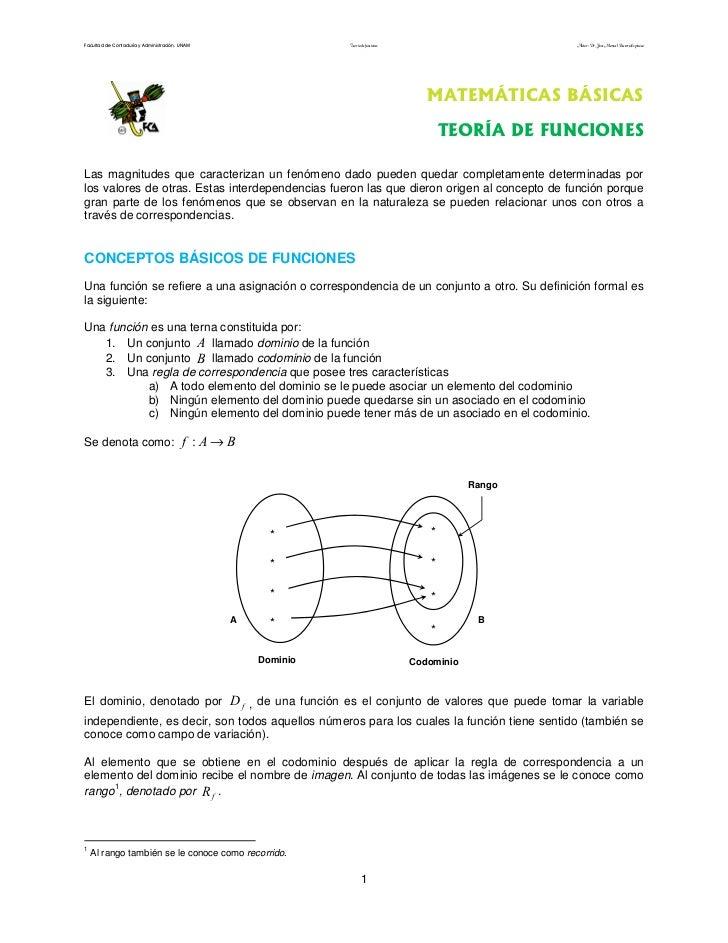 Facultad de Contaduría y Administración. UNAM                 Teoría de funciones                       Autor: Dr. José Ma...