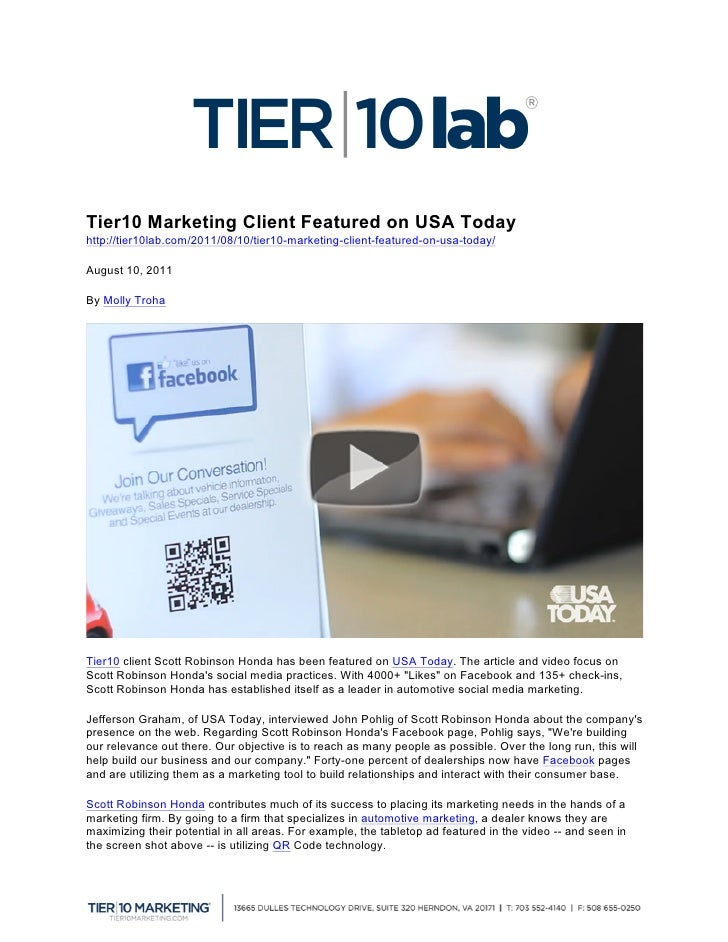Tier10 Marketing Client Featured on USA Todayhttp://tier10lab.co...