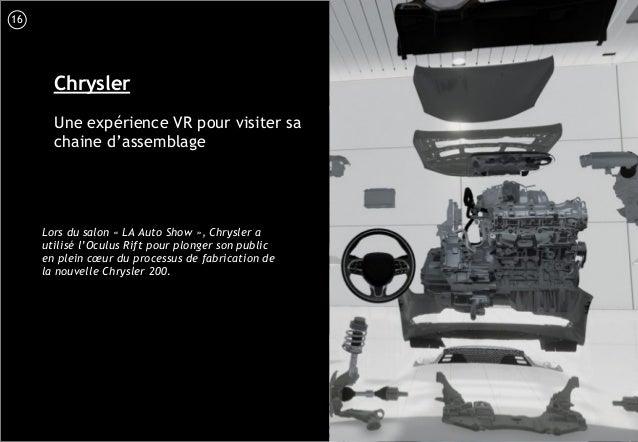 17 Chrysler Une expérience VR pour visiter sa chaine d'assemblage Lors du salon « LA Auto Show », Chrysler a utilisé l'Ocu...