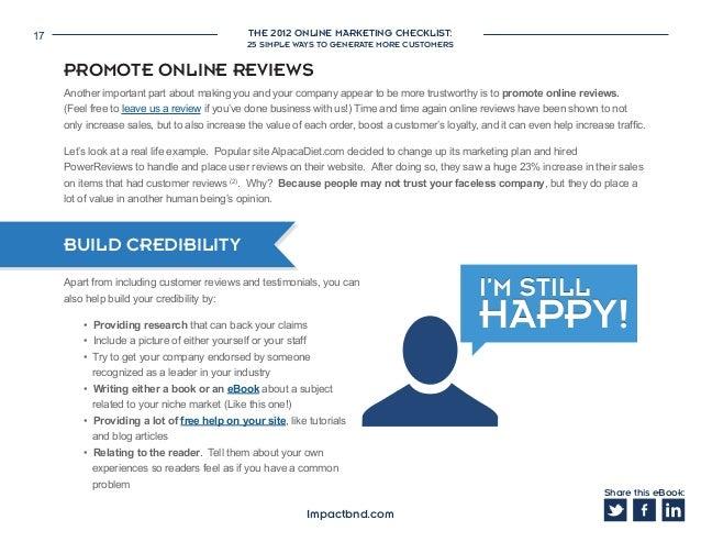 7a7760f35092 Share this eBook  Impactbnd.com  17. THE 2012 ONLINE MARKETING CHECKLIST   17 25 SIMPLE WAYS ...