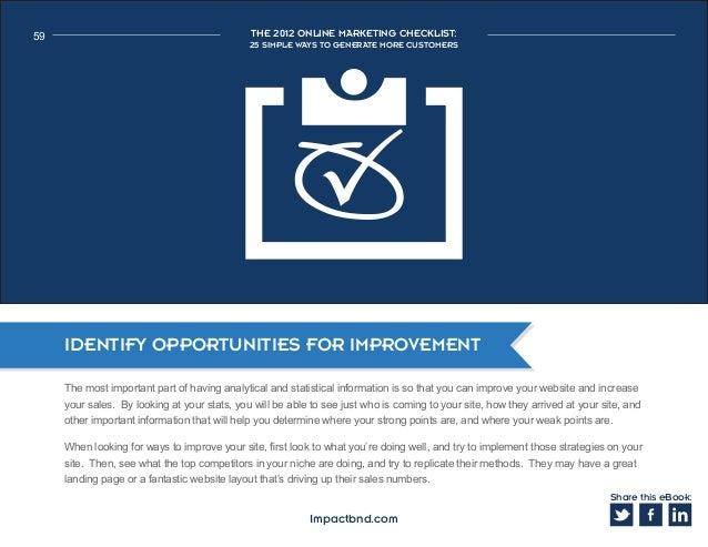 f1c261fb48fe Share this eBook  Impactbnd.com  59. 59 THE 2012 ONLINE MARKETING  CHECKLIST  25 SIMPLE WAYS ...