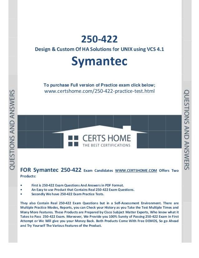 P a g e |1             250 2 0‐422  Design&Cu ustomO OfHASolutionsf forUNIX XusingV VCS4.1  Sy ant...