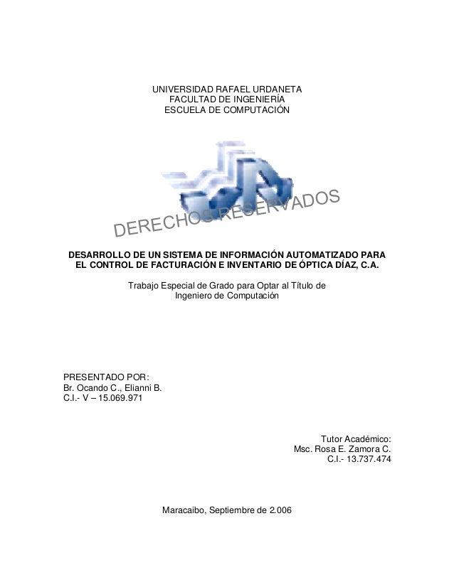 UNIVERSIDAD RAFAEL URDANETA FACULTAD DE INGENIERÍA ESCUELA DE COMPUTACIÓN  S RECHO DE  O ERVAD RES  S  DESARROLLO DE UN SI...