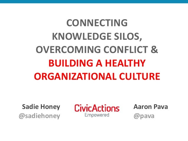 CONNECTING     KNOWLEDGE  SILOS,   OVERCOMING  CONFLICT  & BUILDING  A  HEALTHY   ORGANIZATIONAL  CUL...