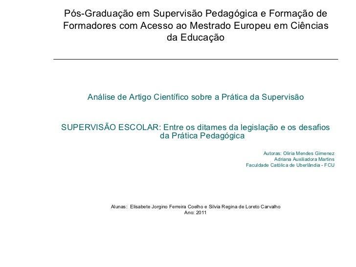 Pós-Graduação em Supervisão Pedagógica e Formação de Formadores com Acesso ao Mestrado Europeu em Ciências da Educação <ul...