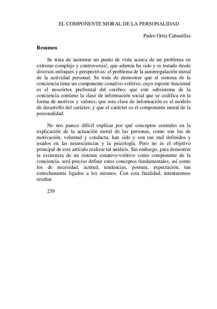 EL COMPONENTE MORAL DE LA PERSONALIDAD                                                     Pedro Ortiz CabanillasResumen  ...