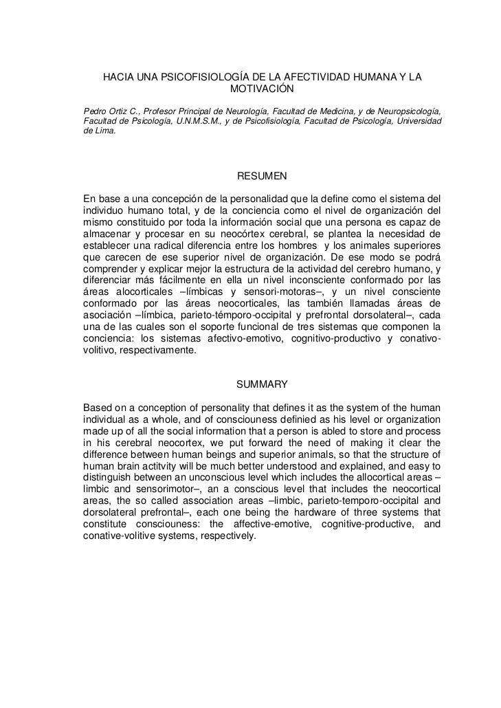 HACIA UNA PSICOFISIOLOGÍA DE LA AFECTIVIDAD HUMANA Y LA                           MOTIVACIÓNPedro Ortiz C., Profesor Princ...