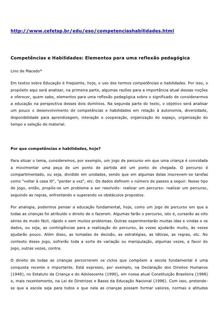 http://www.cefetsp.br/edu/eso/competenciashabilidades.htmlCompetências e Habilidades: Elementos para uma reflexão pedagógi...
