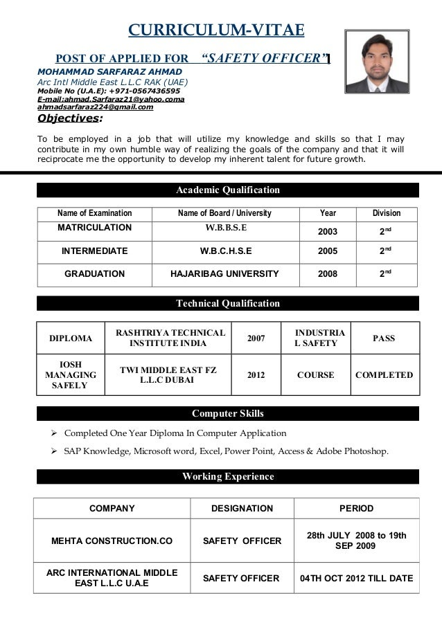 Safety Officer Cv Doc