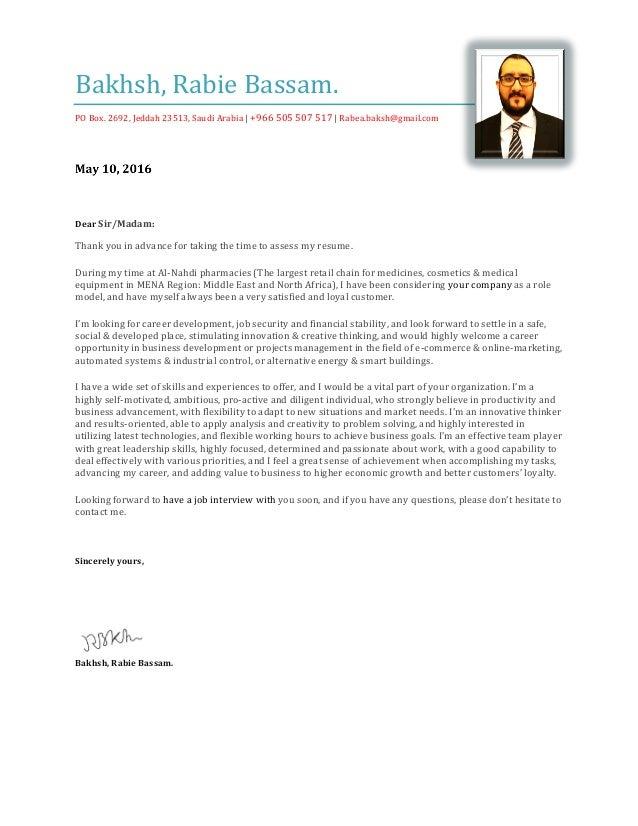 Rabie Bakhsh   Cover Letter. Bakhsh, Rabie Bassam. PO Box. 2692, Jeddah  23513, Saudi Arabia |