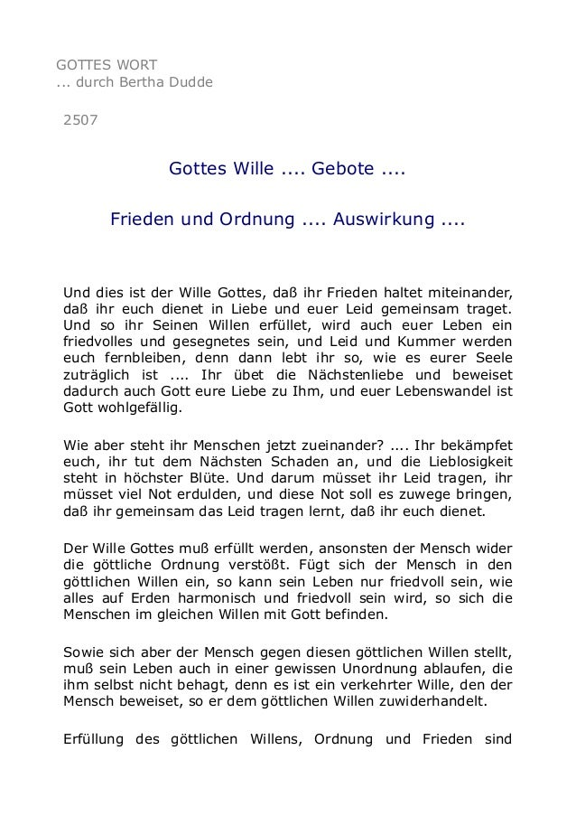 GOTTES WORT ... durch Bertha Dudde 2507 Gottes Wille .... Gebote .... Frieden und Ordnung .... Auswirkung .... Und dies is...