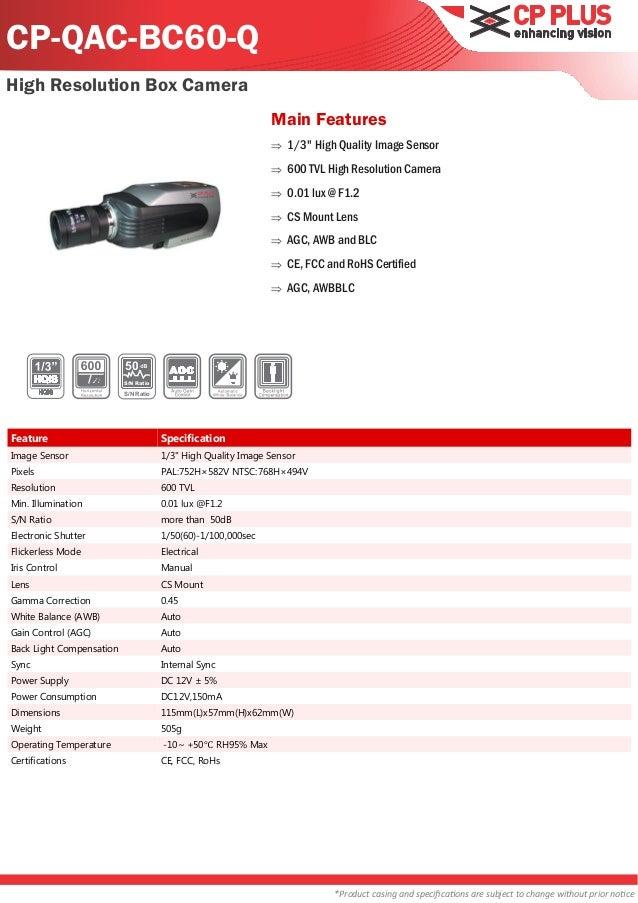 CP-QAC-BC60-QHigh Resolution Box Camera                                                              Main Features        ...