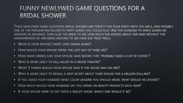 Newlywed not game questions so 150+ Funny