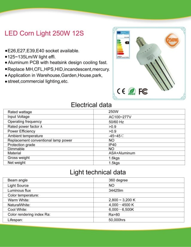 250 w led corn light 12S ac100~277v