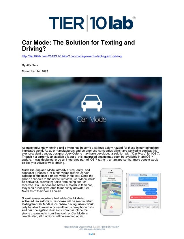 Car Mode: The Solution for Texting and Driving? http://tier10lab.com/2013/11/14/ios7-car-mode-prevents-texting-and-driving...