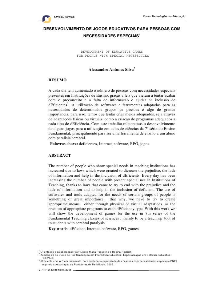 CINTED-UFRGS                                                        Novas Tecnologias na Educação        DESENVOLVIMENTO D...