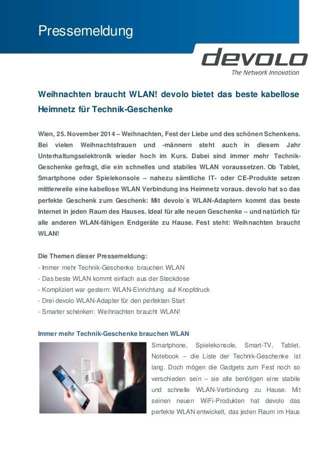 Pressemeldung  Weihnachten braucht WLAN! devolo bietet das beste kabellose  Heimnetz für Technik-Geschenke  Wien, 25. Nove...
