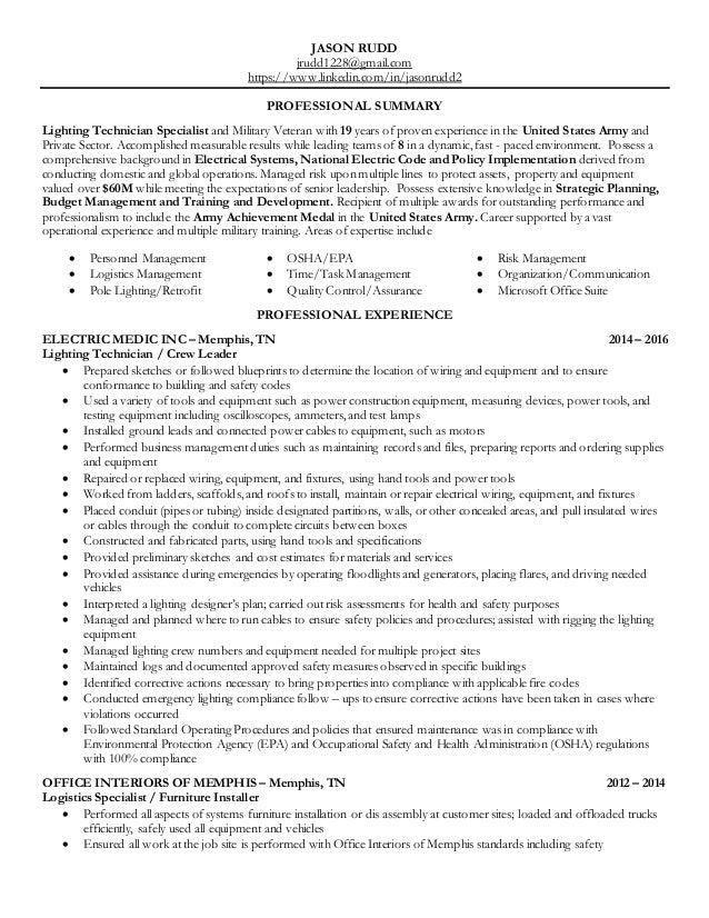 JASON RUDD jrudd1228@gmail.com https://www.linkedin.com/in/jasonrudd2 PROFESSIONAL SUMMARY Lighting Technician Specialist ...