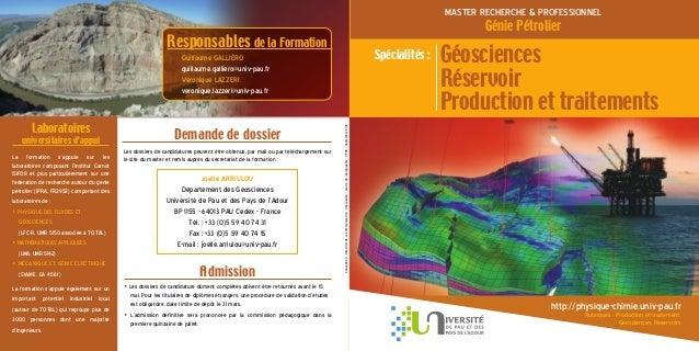 http://physique-chimie.univ-pau.fr Rubriques : Production et traitement, Géosciences, Réservoirs MASTER RECHERCHE & PROFES...