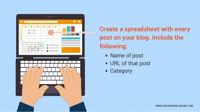 WWW.BECOMEABLOGGER.COM Create a spreadsheet with every post on your blog. Include the following: Name of post URL of that ...
