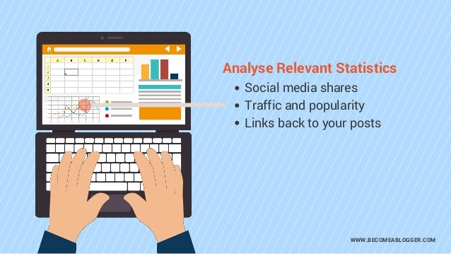 WWW.BECOMEABLOGGER.COM Analyse Relevant Statistics Social media shares Traffic and popularity Links back to your posts