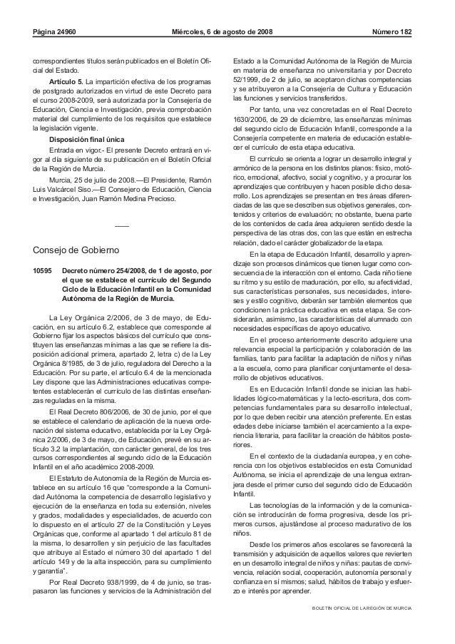 BOLETÍN OFICIAL DE LA REGIÓN DE MURCIA Miércoles, 6 de agosto de 2008Página 24960 Número 182 correspondientes títulos será...