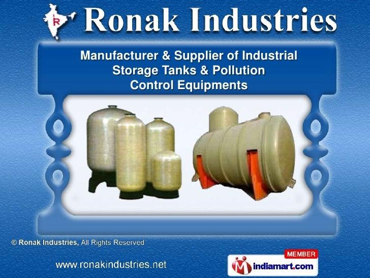 Manufacturer & Supplier of Industrial    Storage Tanks & Pollution       Control Equipments