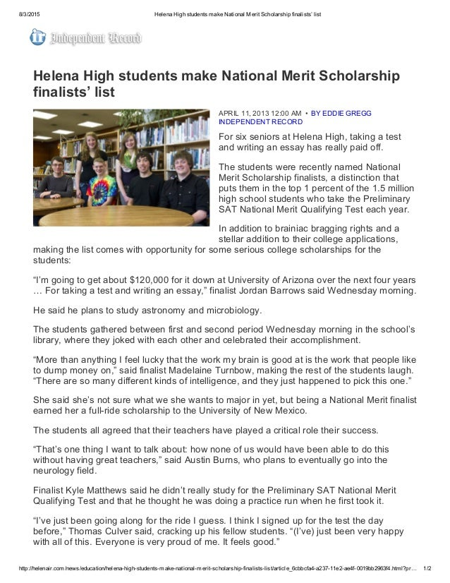 Helena High Students Make National Merit Scholarship Finalists List  Helena High Students Make National Merit Scholarship Finalists  List Http  Apa Format For Essay Paper also Reflective Essay Thesis Statement Examples  I Need Help Writing A Speech