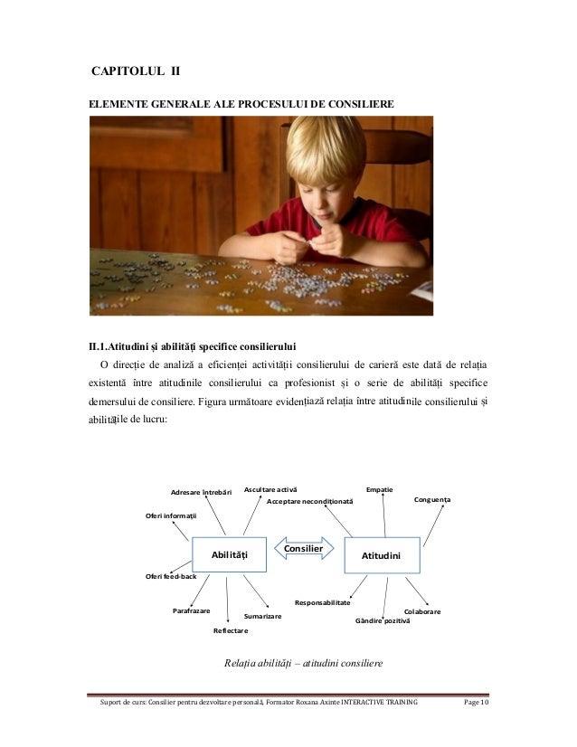 Suport de curs: Consilier pentru dezvoltare personală, Formator Roxana Axinte INTERACTIVE TRAINING Page 10 CAPITOLUL II EL...