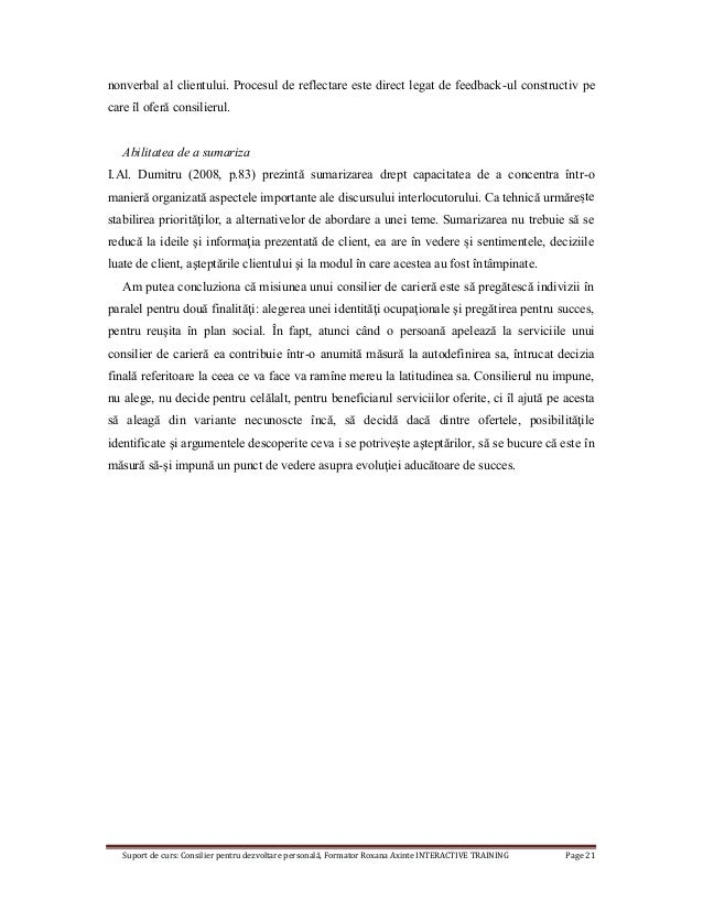 Suport de curs: Consilier pentru dezvoltare personală, Formator Roxana Axinte INTERACTIVE TRAINING Page 21 nonverbal al cl...