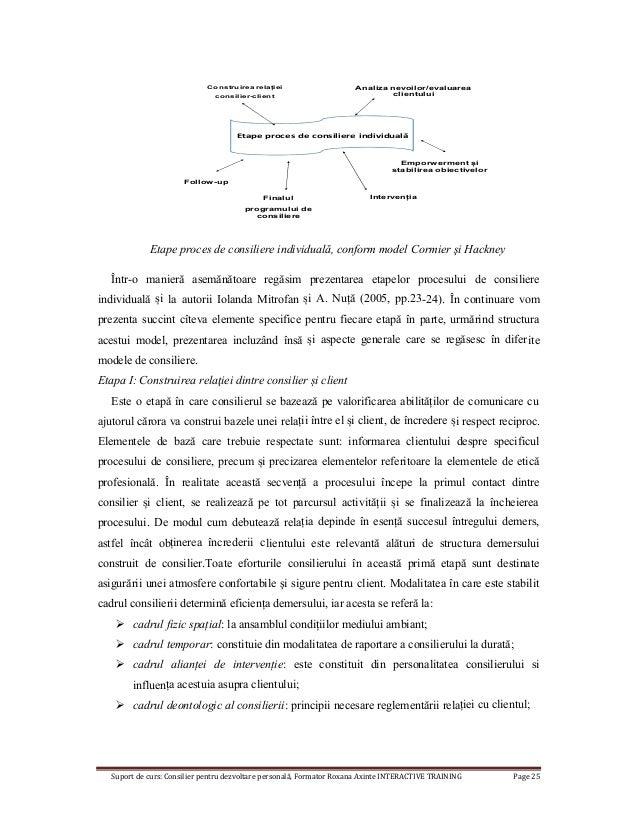Suport de curs: Consilier pentru dezvoltare personală, Formator Roxana Axinte INTERACTIVE TRAINING Page 25 Etape proces de...