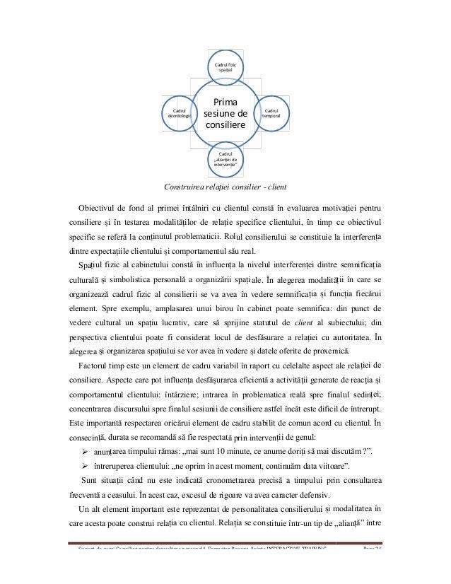 Suport de curs: Consilier pentru dezvoltare personală, Formator Roxana Axinte INTERACTIVE TRAINING Page 26 Construirea rel...