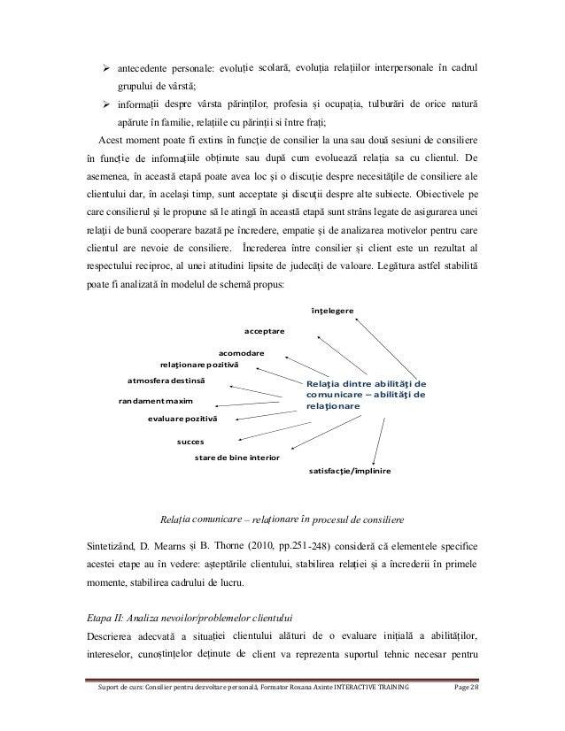 Suport de curs: Consilier pentru dezvoltare personală, Formator Roxana Axinte INTERACTIVE TRAINING Page 28  antecedente p...