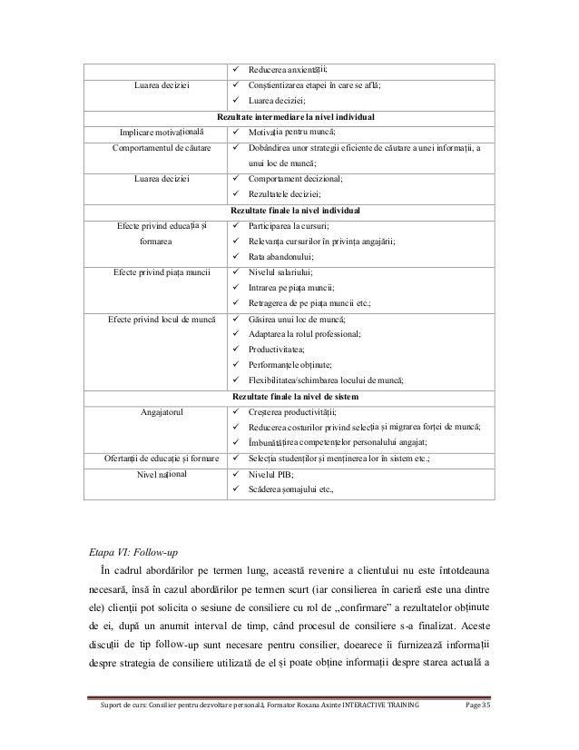 Suport de curs: Consilier pentru dezvoltare personală, Formator Roxana Axinte INTERACTIVE TRAINING Page 35  Reducerea anx...