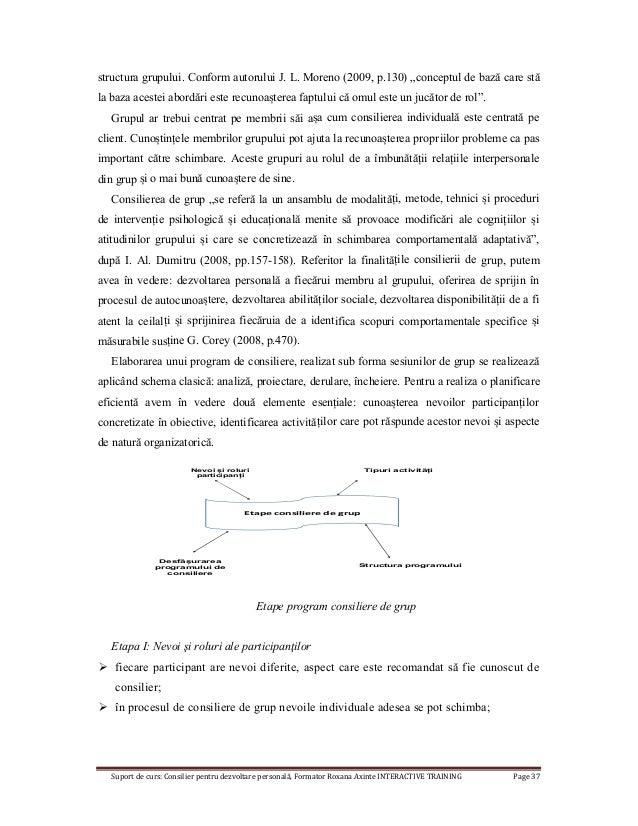Suport de curs: Consilier pentru dezvoltare personală, Formator Roxana Axinte INTERACTIVE TRAINING Page 37 structura grupu...