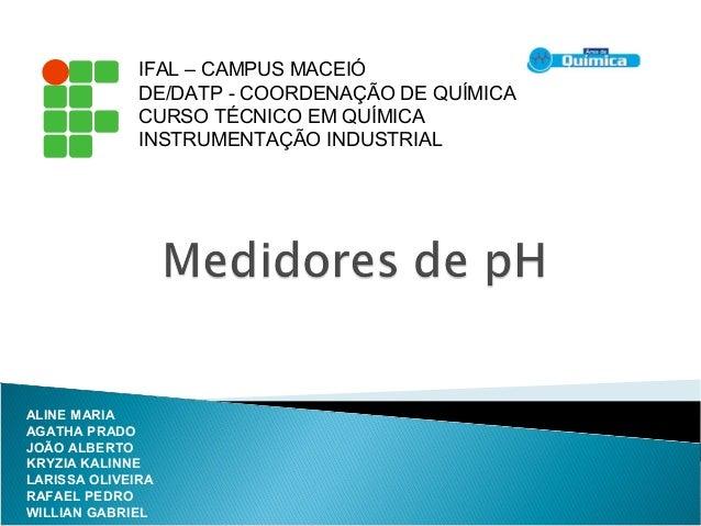 IFAL – CAMPUS MACEIÓ DE/DATP - COORDENAÇÃO DE QUÍMICA CURSO TÉCNICO EM QUÍMICA INSTRUMENTAÇÃO INDUSTRIAL ALINE MARIA AGATH...