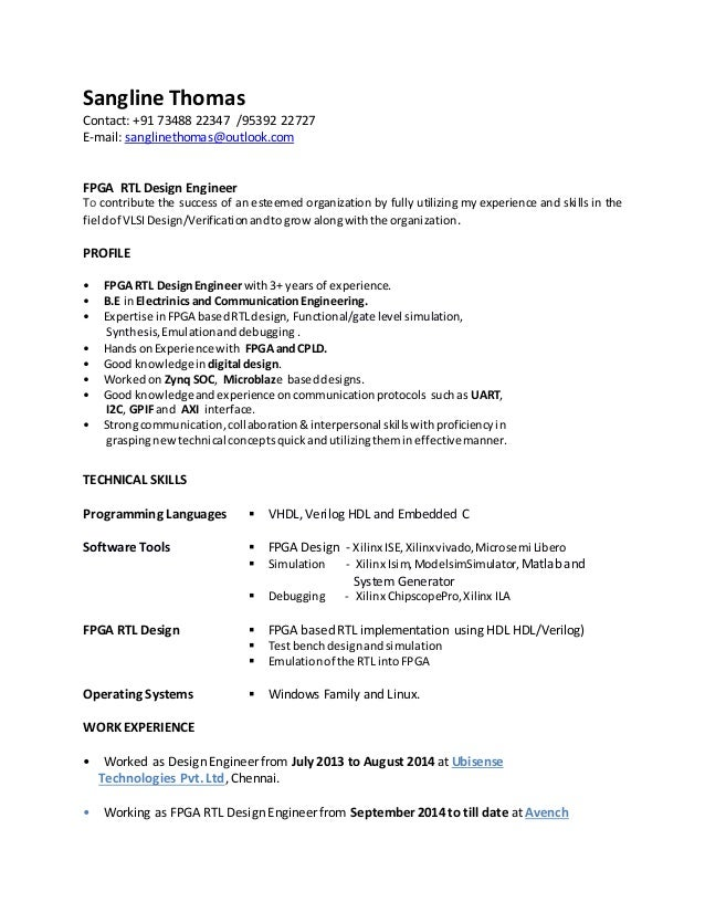 ... CV - FPGA RTL Design Engineer_edited. Sangline Thomas Contact: +91  73488 22347 /95392 22727 E-mail: sanglinethomas ...