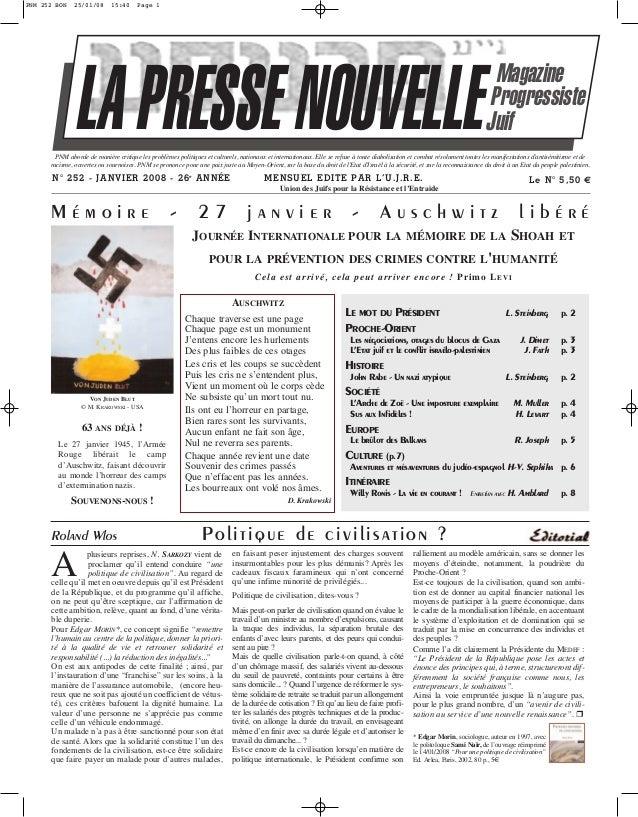PNM 252 BON  25/01/08  15:40  Page 1  LA PRESSE NOUVELLE  Magazine Progressiste Juif  PNM aborde de manière critique les p...