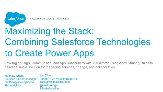 Maximizing the Stack: Combining Salesforce Technologies to Create Power Apps Matthew Wright Founder & CEO, specright ...