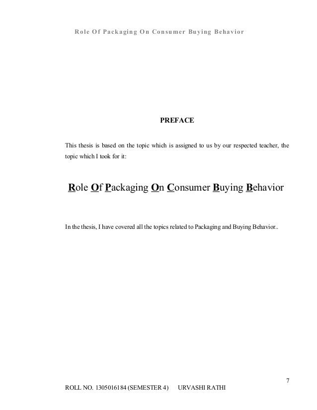 role of packaging on consumer buying behavior thesis