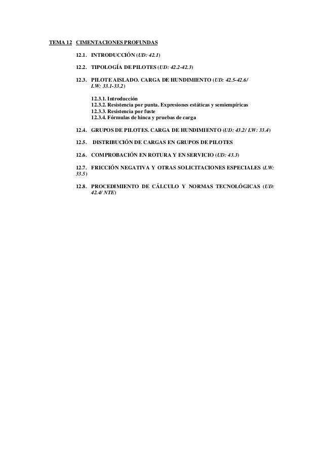 TEMA 12 CIMENTACIONES PROFUNDAS12.1. INTRODUCCIÓN (UD: 42.1)12.2. TIPOLOGÍA DE PILOTES (UD: 42.2-42.3)12.3. PILOTE AISLADO...