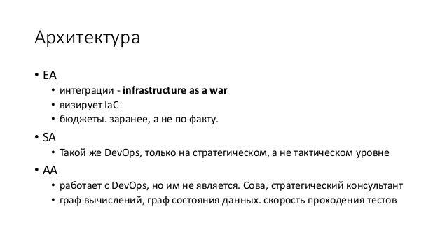 Архитектура • EA • интеграции - infrastructure as a war • визирует IaC • бюджеты. заранее, а не по факту. • SA • Такой же ...