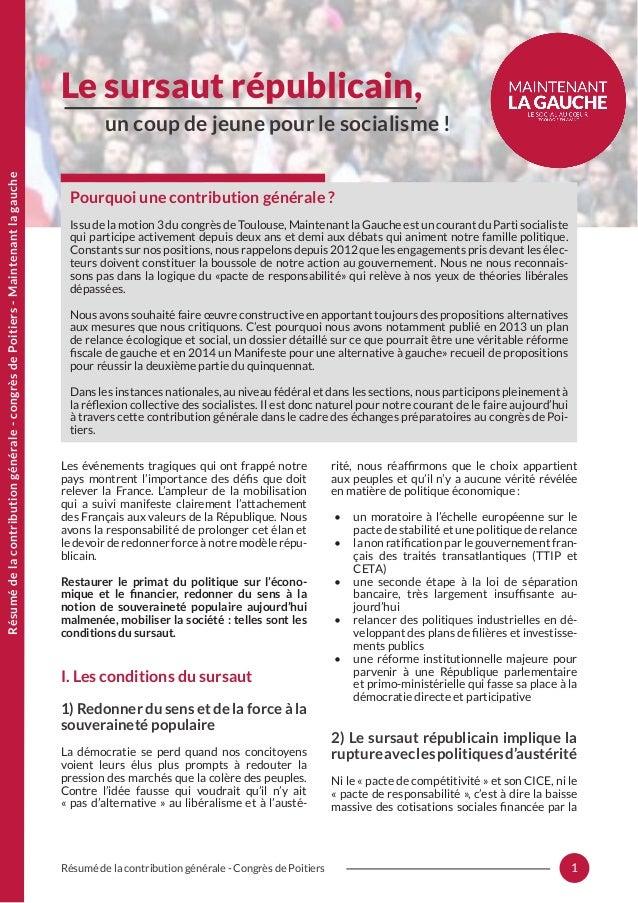 1Résumé de la contribution générale - Congrès de Poitiers Les événements tragiques qui ont frappé notre pays montrent l'im...